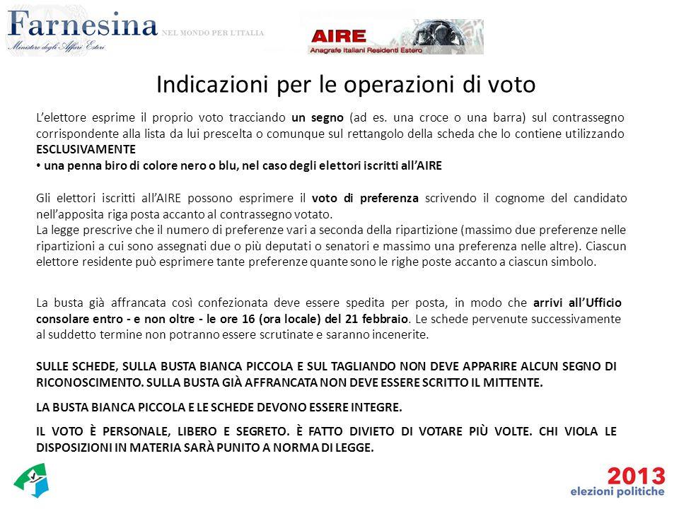 Indicazioni per le operazioni di voto