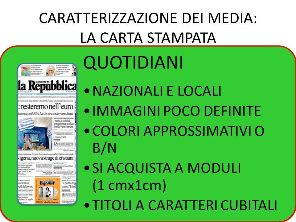 CARATTERIZZAZIONE DEI MEDIA: LA CARTA STAMPATA