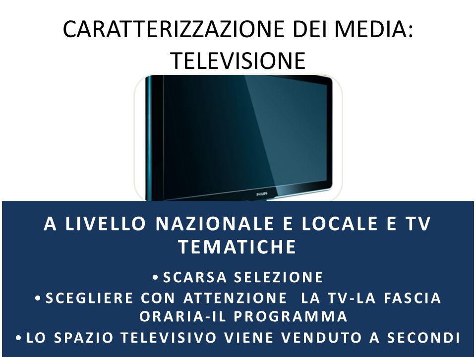 CARATTERIZZAZIONE DEI MEDIA: TELEVISIONE