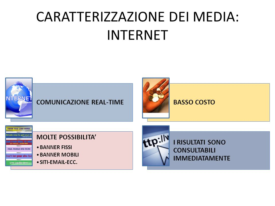CARATTERIZZAZIONE DEI MEDIA: INTERNET