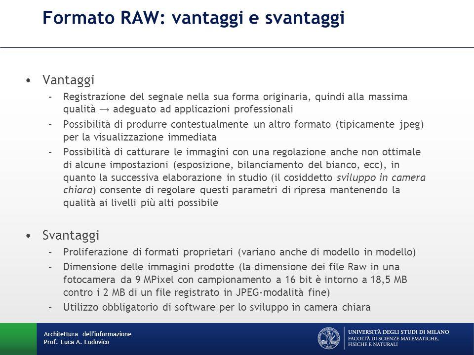Formato RAW: vantaggi e svantaggi