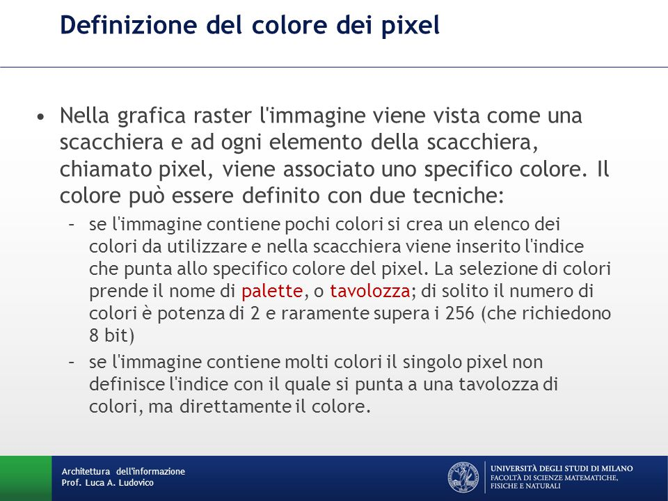 Definizione del colore dei pixel