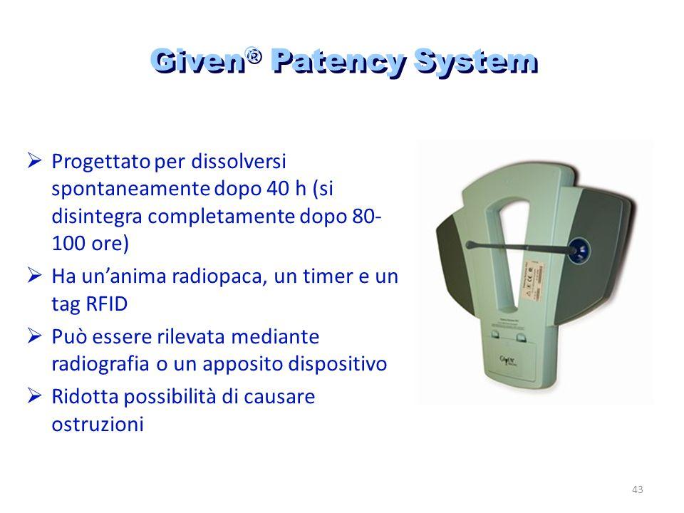 Given® Patency System Progettato per dissolversi spontaneamente dopo 40 h (si disintegra completamente dopo 80-100 ore)