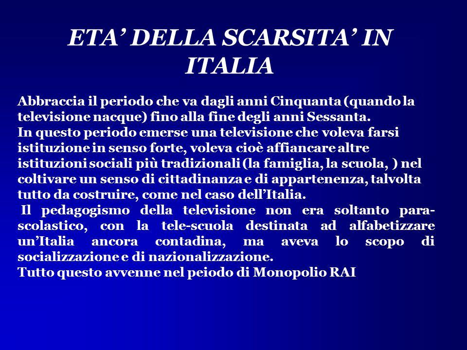 ETA' DELLA SCARSITA' IN ITALIA