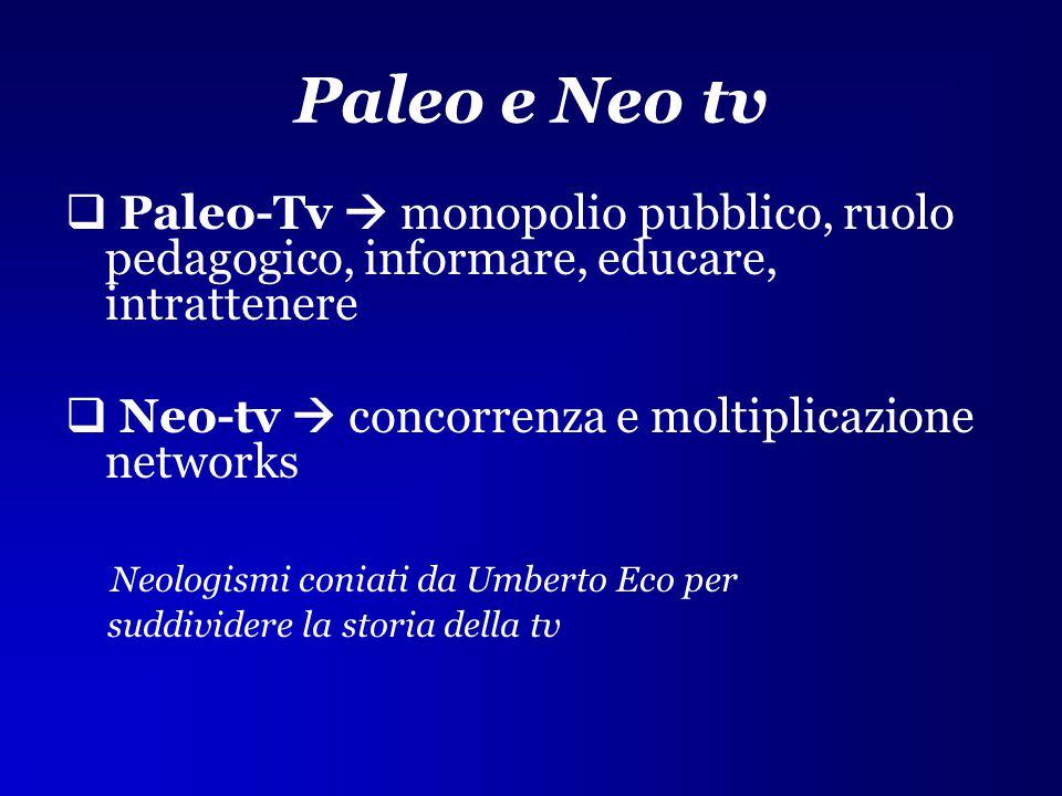 Paleo e Neo tv Paleo-Tv  monopolio pubblico, ruolo pedagogico, informare, educare, intrattenere.