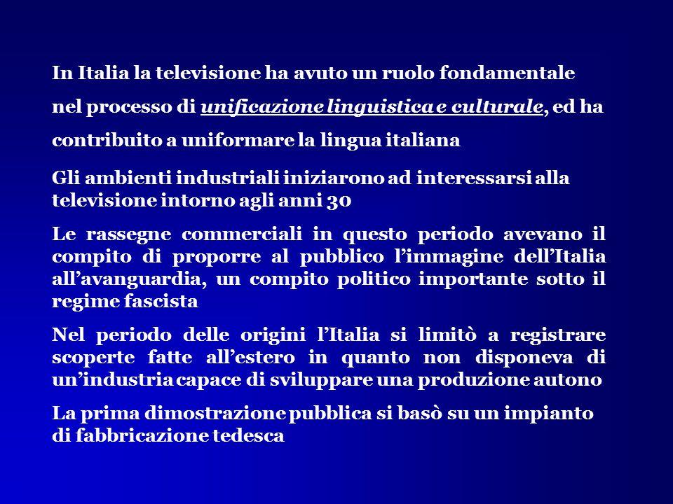 In Italia la televisione ha avuto un ruolo fondamentale nel processo di unificazione linguistica e culturale, ed ha contribuito a uniformare la lingua italiana
