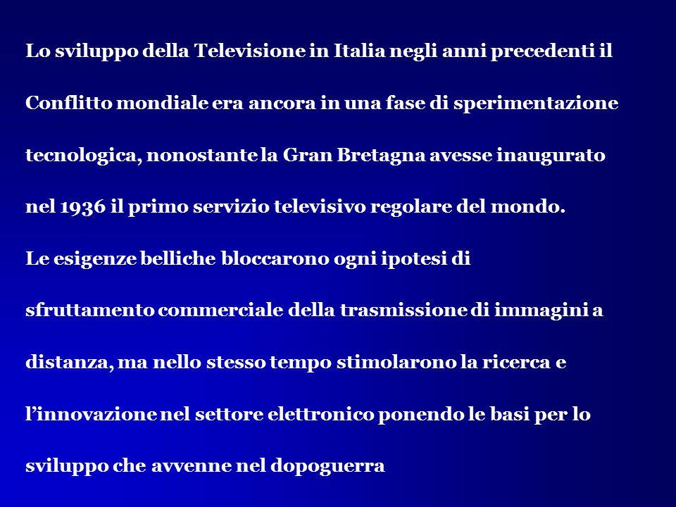 Lo sviluppo della Televisione in Italia negli anni precedenti il