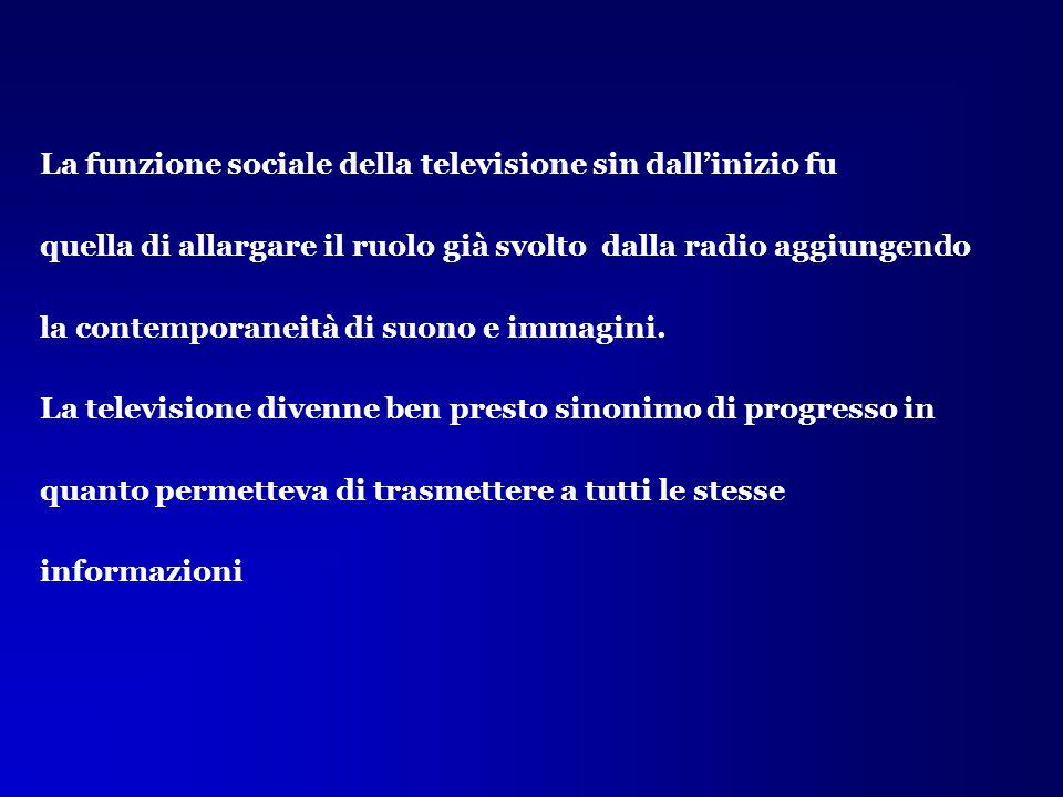 La funzione sociale della televisione sin dall'inizio fu