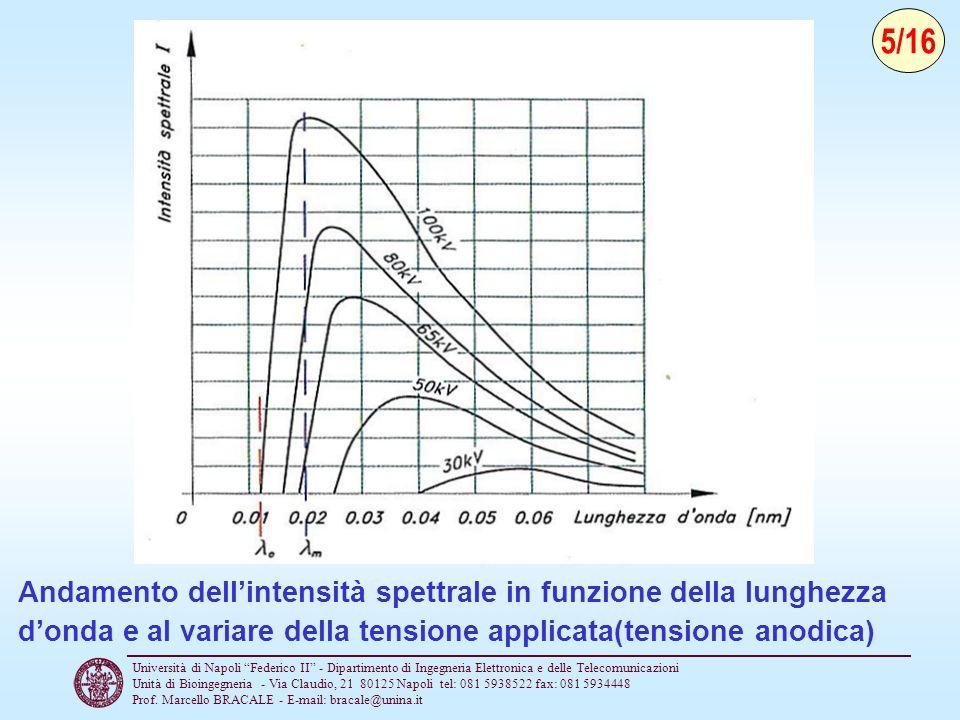 5/16 Andamento dell'intensità spettrale in funzione della lunghezza d'onda e al variare della tensione applicata(tensione anodica)