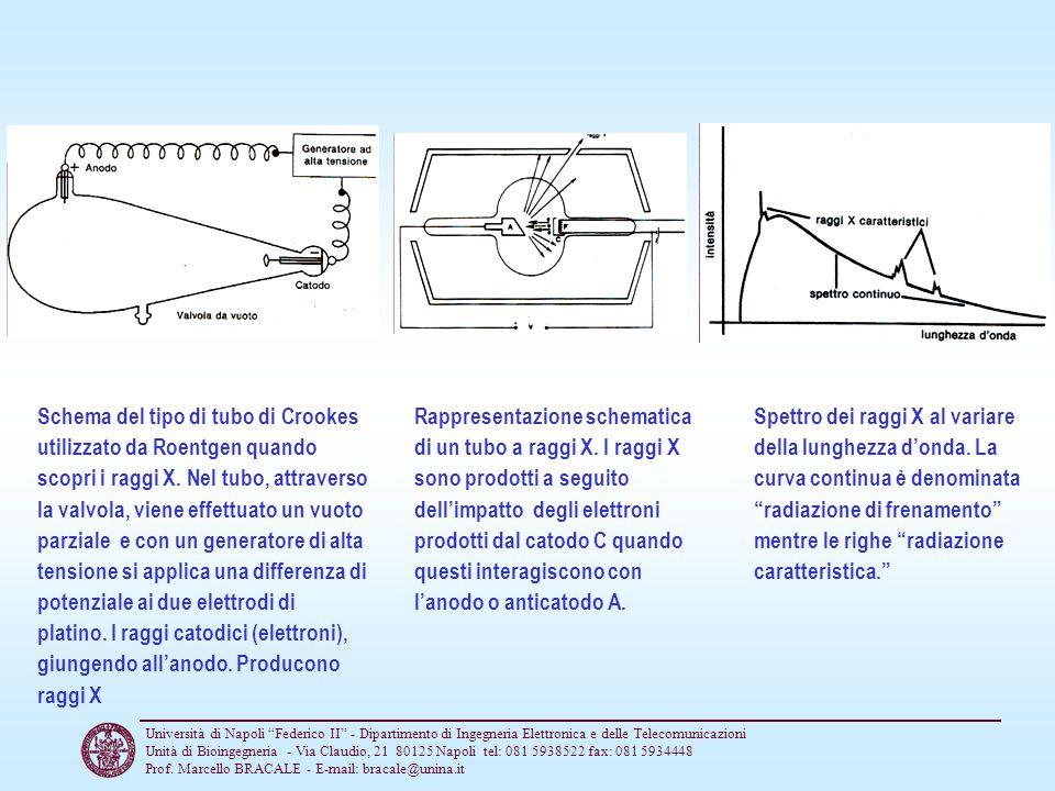 Schema del tipo di tubo di Crookes utilizzato da Roentgen quando scopri i raggi X. Nel tubo, attraverso la valvola, viene effettuato un vuoto parziale e con un generatore di alta tensione si applica una differenza di potenziale ai due elettrodi di platino. I raggi catodici (elettroni), giungendo all'anodo. Producono raggi X