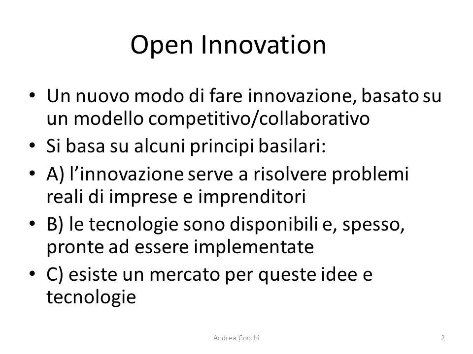 Open Innovation Un nuovo modo di fare innovazione, basato su un modello competitivo/collaborativo. Si basa su alcuni principi basilari: