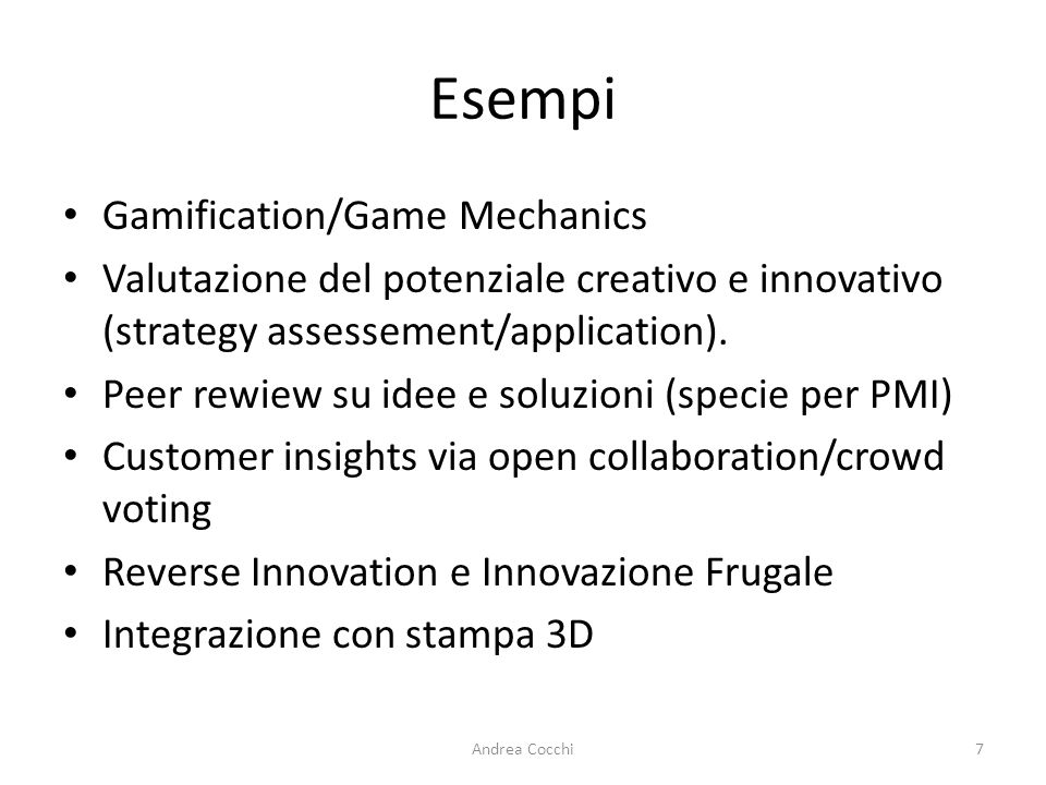 Esempi Gamification/Game Mechanics