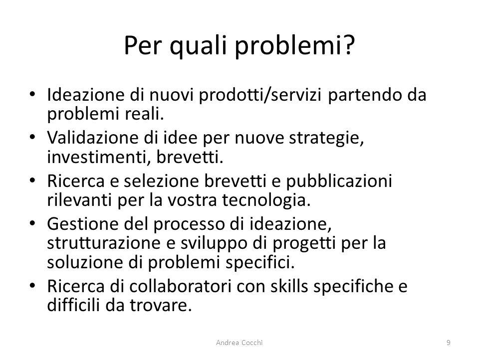 Per quali problemi Ideazione di nuovi prodotti/servizi partendo da problemi reali. Validazione di idee per nuove strategie, investimenti, brevetti.
