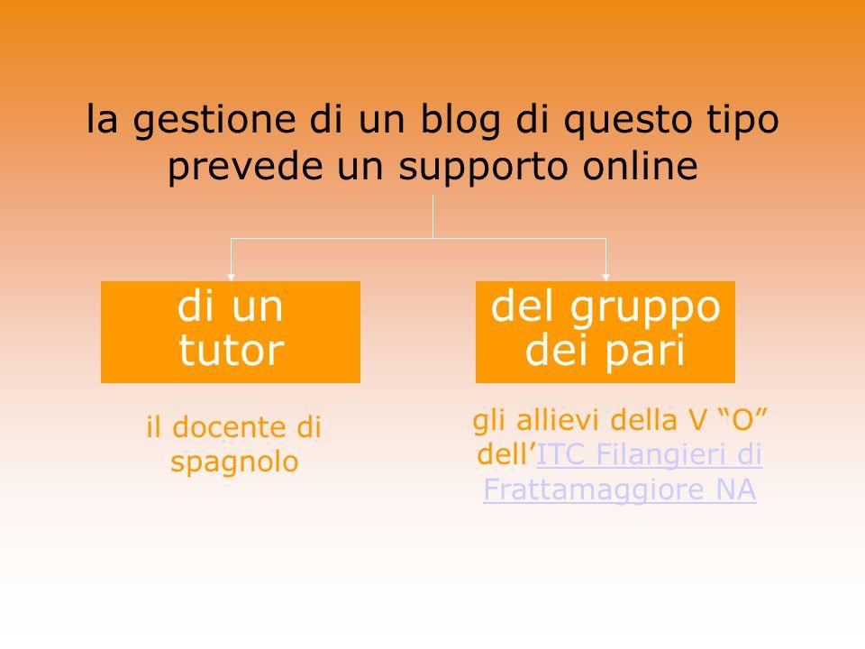 la gestione di un blog di questo tipo prevede un supporto online