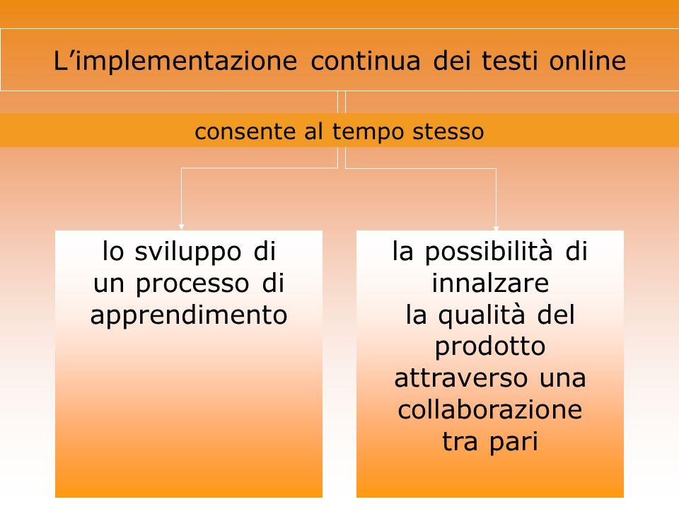 L'implementazione continua dei testi online