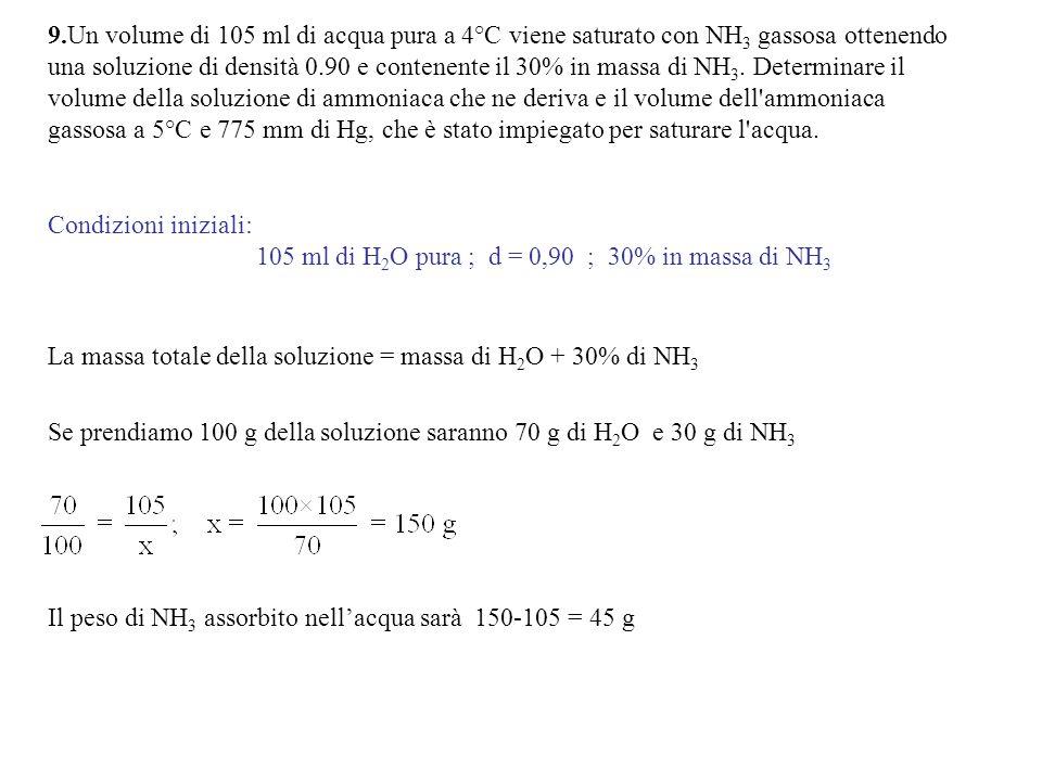 9.Un volume di 105 ml di acqua pura a 4°C viene saturato con NH3 gassosa ottenendo una soluzione di densità 0.90 e contenente il 30% in massa di NH3. Determinare il volume della soluzione di ammoniaca che ne deriva e il volume dell ammoniaca gassosa a 5°C e 775 mm di Hg, che è stato impiegato per saturare l acqua.