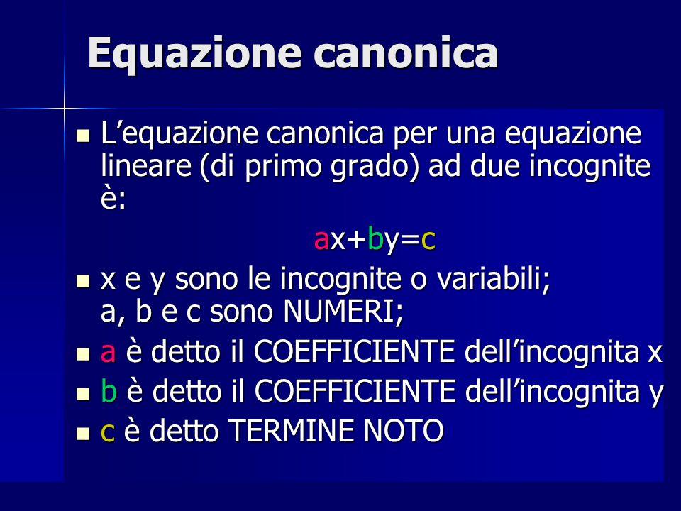 Equazione canonica L'equazione canonica per una equazione lineare (di primo grado) ad due incognite è: