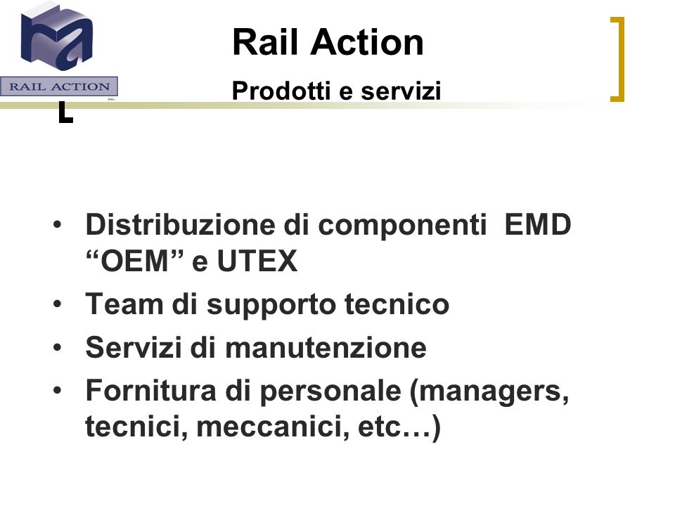 Rail Action Prodotti e servizi