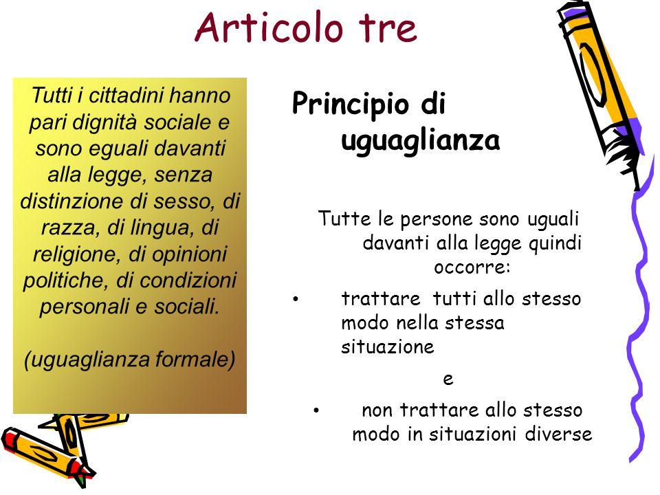 Articolo tre Principio di uguaglianza