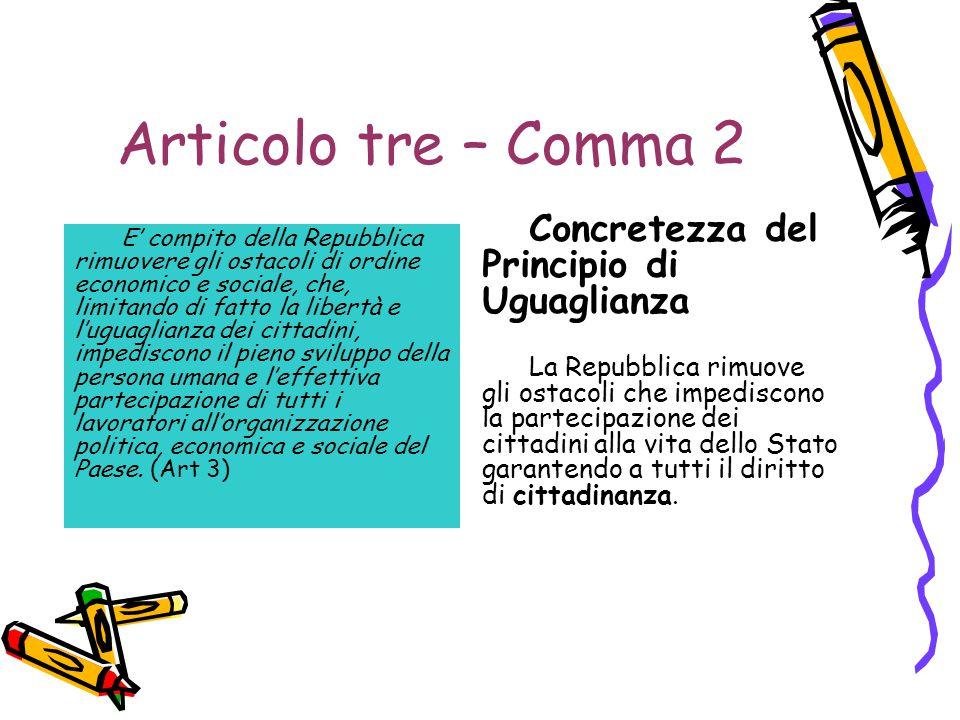 Articolo tre – Comma 2 Concretezza del Principio di Uguaglianza
