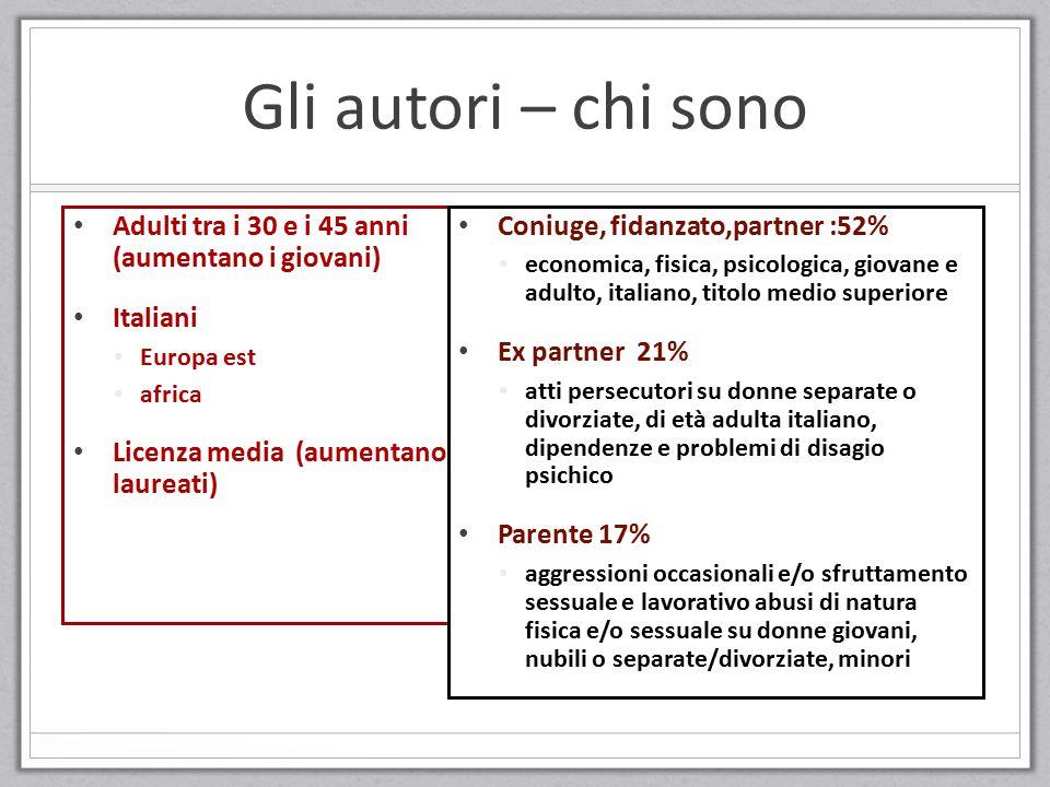 Gli autori – chi sono Adulti tra i 30 e i 45 anni (aumentano i giovani) Italiani. Europa est. africa.