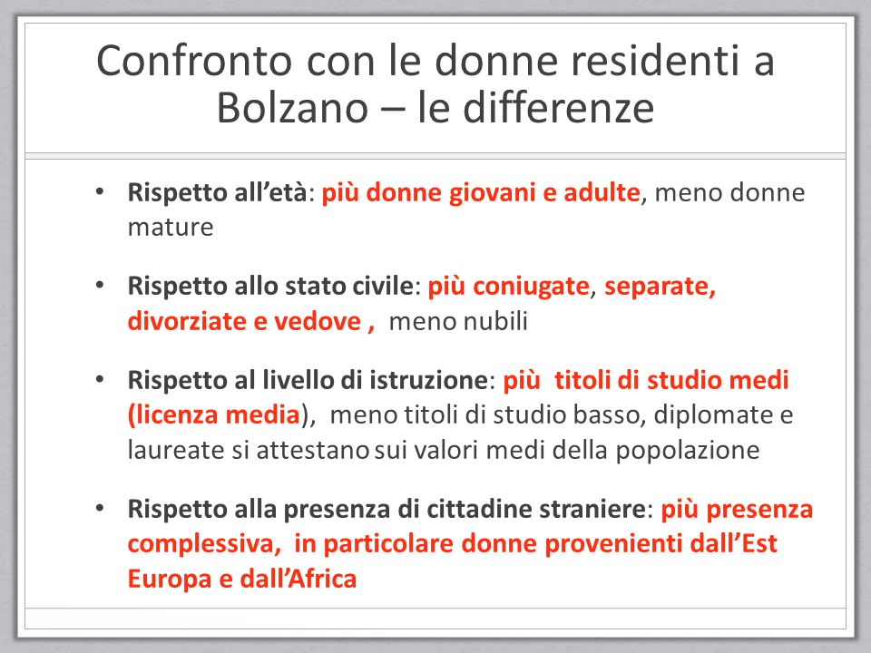 Confronto con le donne residenti a Bolzano – le differenze