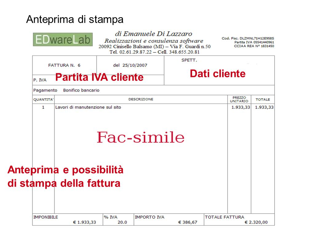 Anteprima di stampa Dati cliente. Partita IVA cliente.