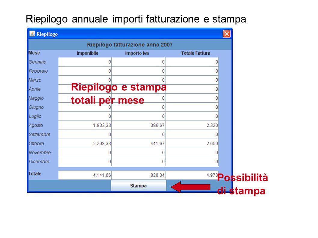 Riepilogo annuale importi fatturazione e stampa