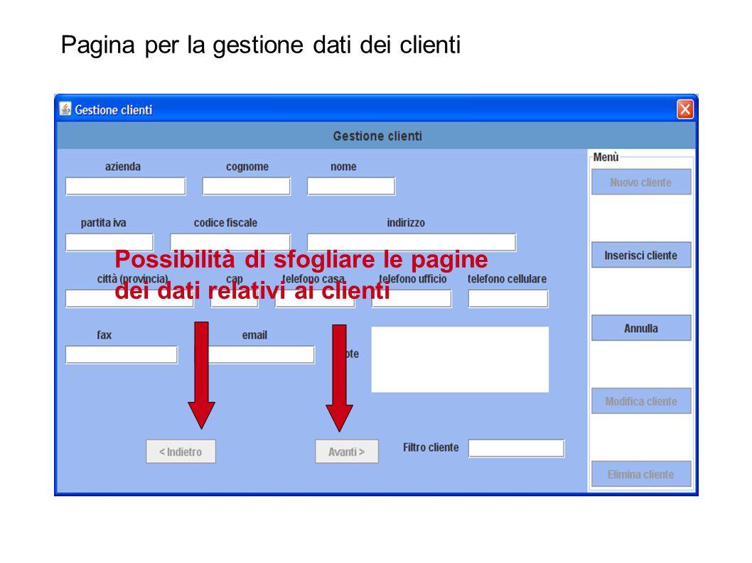 Pagina per la gestione dati dei clienti