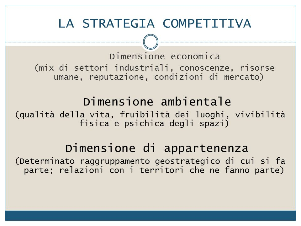 LA STRATEGIA COMPETITIVA