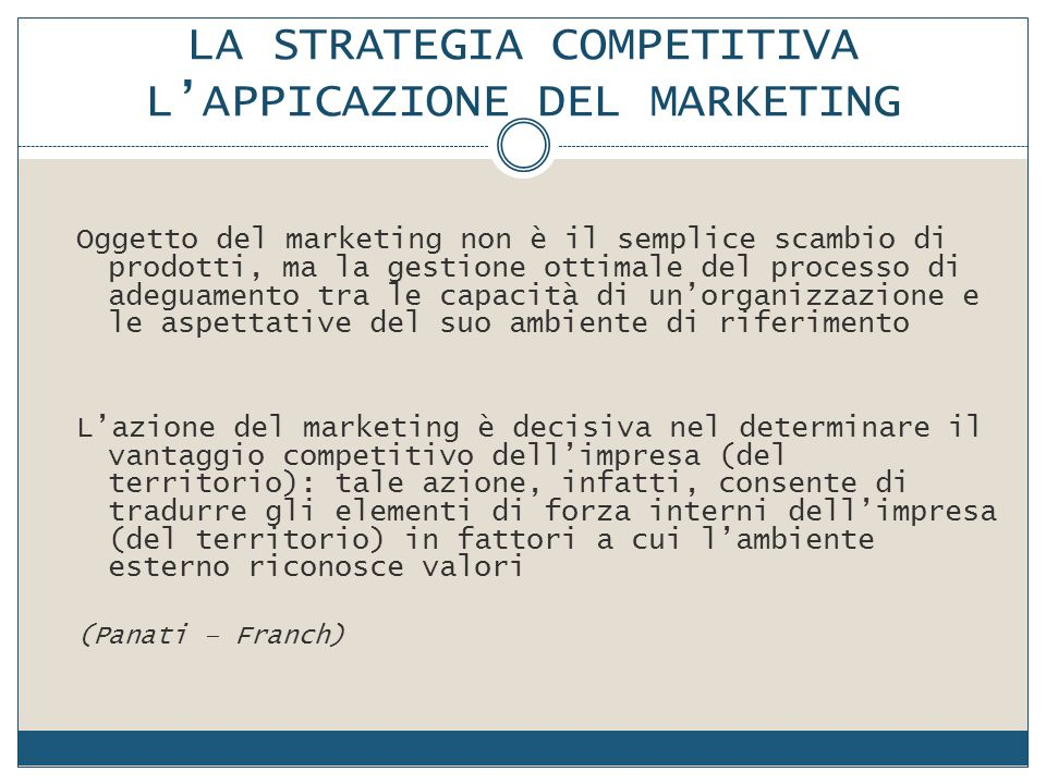 LA STRATEGIA COMPETITIVA L'APPICAZIONE DEL MARKETING