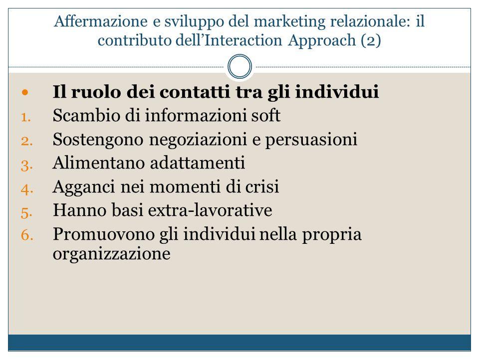 Il ruolo dei contatti tra gli individui Scambio di informazioni soft