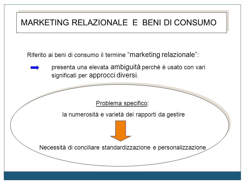 MARKETING RELAZIONALE E BENI DI CONSUMO