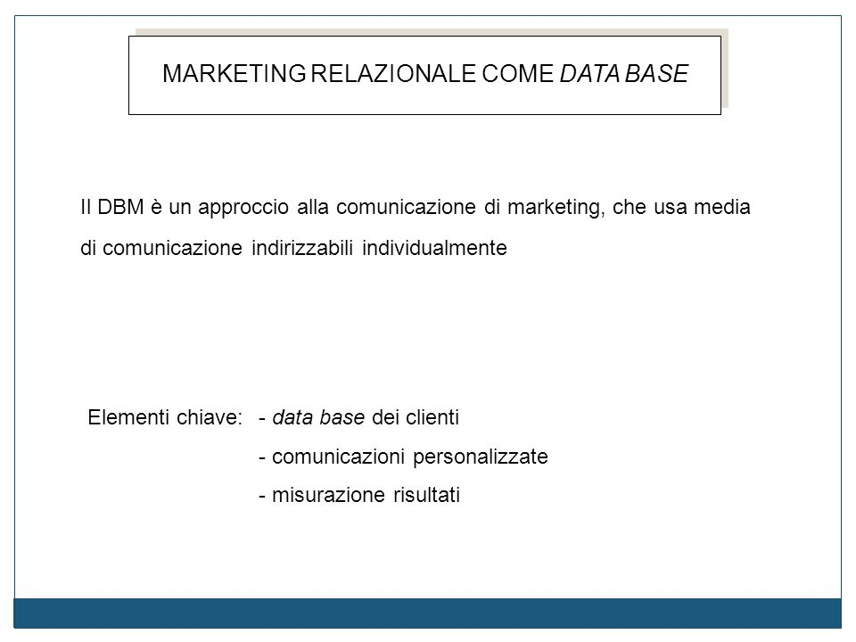 MARKETING RELAZIONALE COME DATA BASE