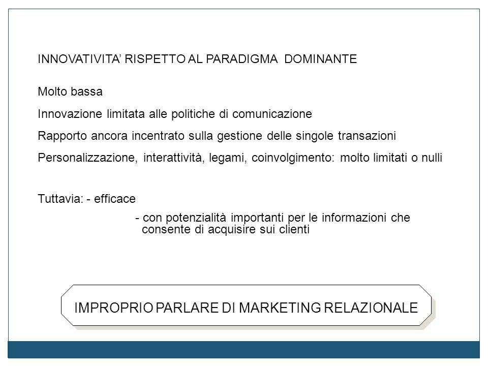 IMPROPRIO PARLARE DI MARKETING RELAZIONALE