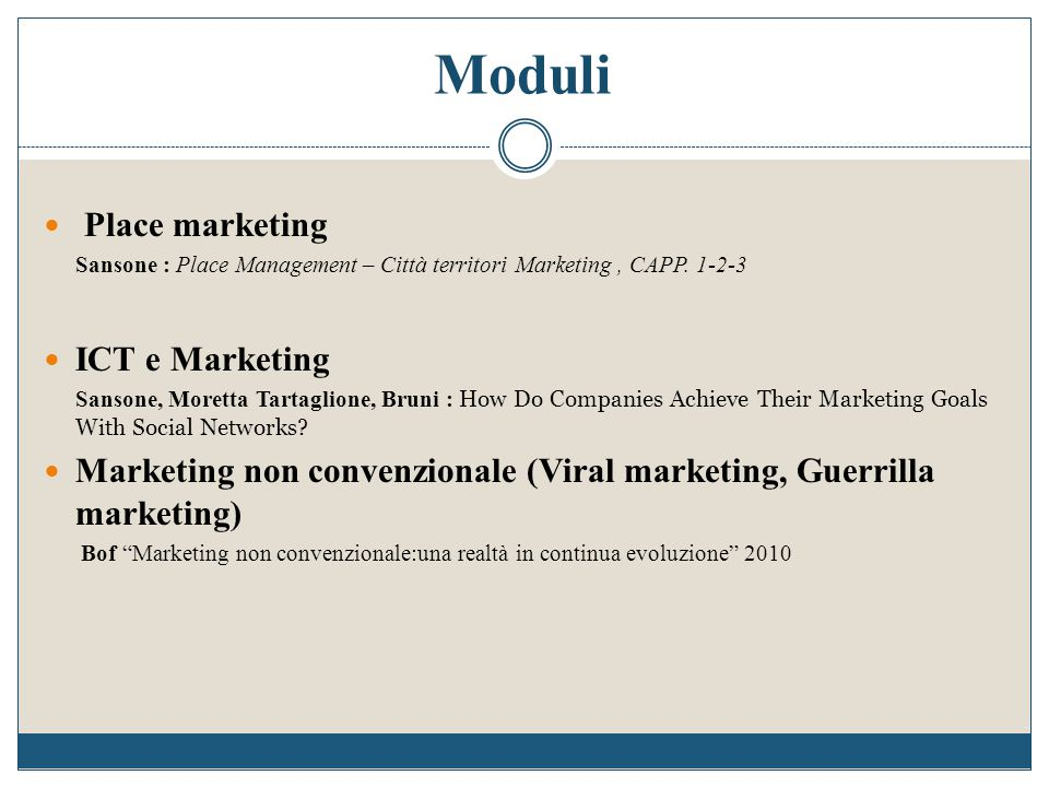 Moduli Place marketing ICT e Marketing