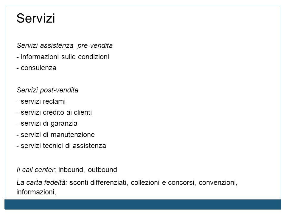 Servizi Servizi assistenza pre-vendita - informazioni sulle condizioni