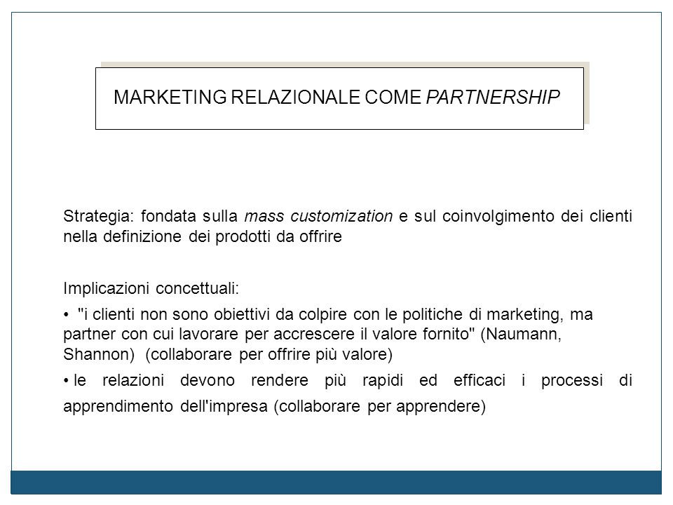 MARKETING RELAZIONALE COME PARTNERSHIP