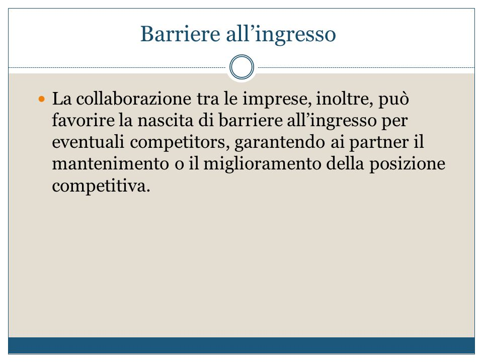 Barriere all'ingresso