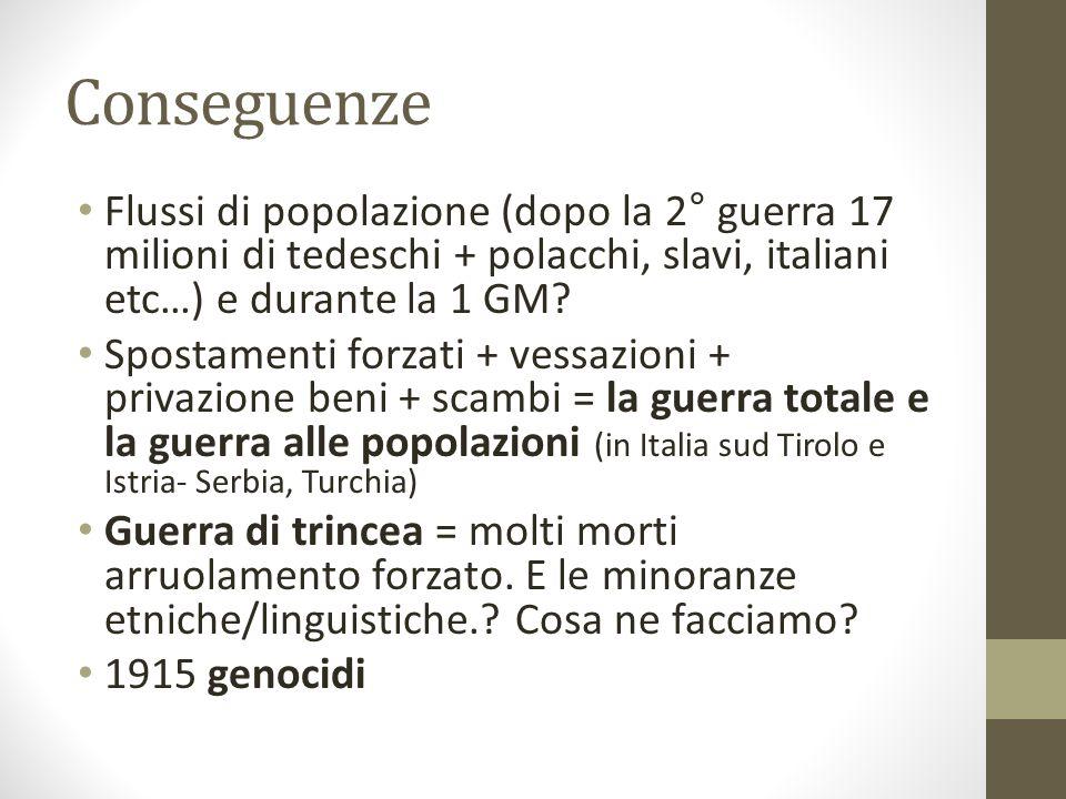 Conseguenze Flussi di popolazione (dopo la 2° guerra 17 milioni di tedeschi + polacchi, slavi, italiani etc…) e durante la 1 GM