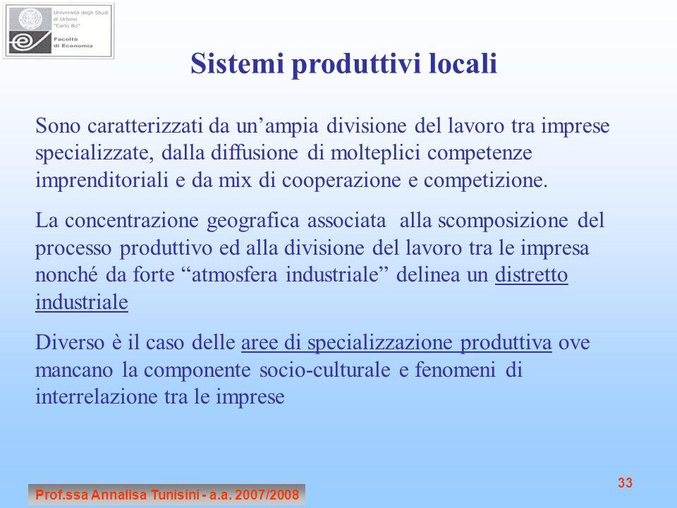 Sistemi produttivi locali Prof.ssa Annalisa Tunisini - a.a. 2007/2008