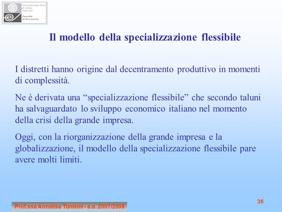 Il modello della specializzazione flessibile