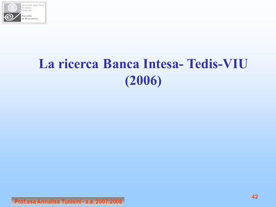 La ricerca Banca Intesa- Tedis-VIU (2006)