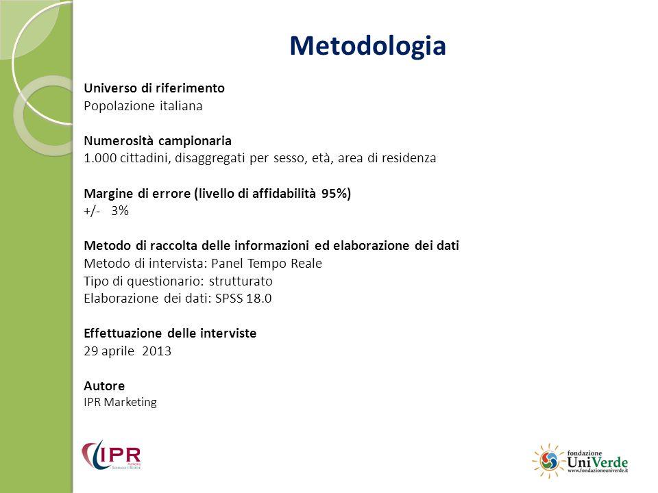 Metodologia Universo di riferimento Popolazione italiana