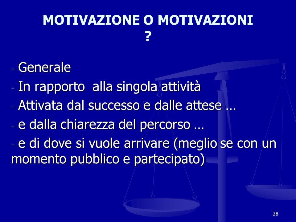 MOTIVAZIONE O MOTIVAZIONI