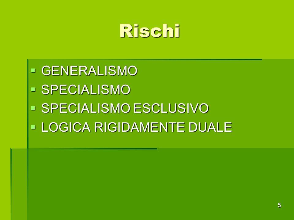 Rischi GENERALISMO SPECIALISMO SPECIALISMO ESCLUSIVO