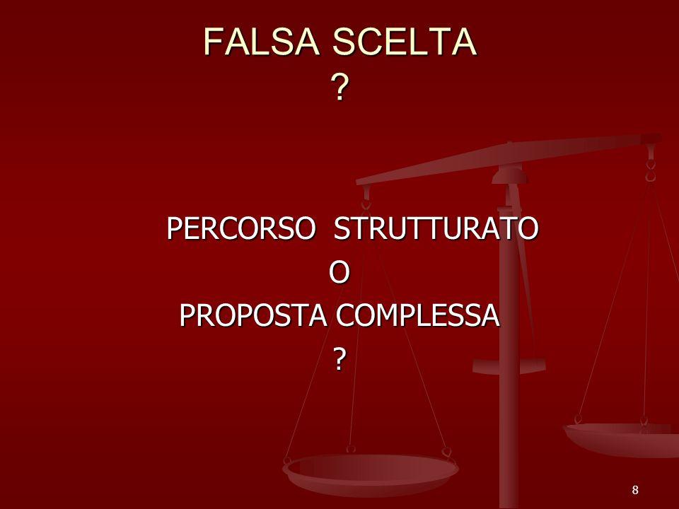 FALSA SCELTA PERCORSO STRUTTURATO O PROPOSTA COMPLESSA