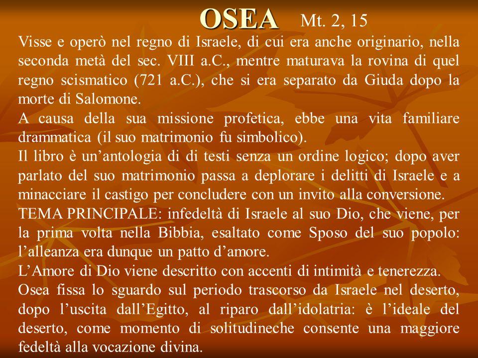 OSEA Mt. 2, 15.