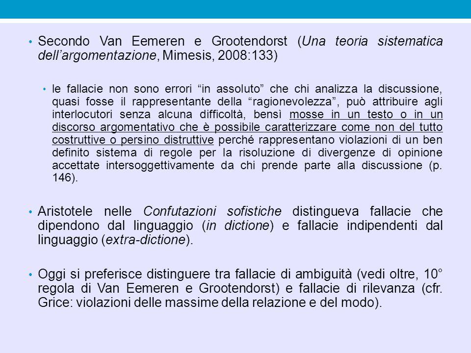 Secondo Van Eemeren e Grootendorst (Una teoria sistematica dell'argomentazione, Mimesis, 2008:133)