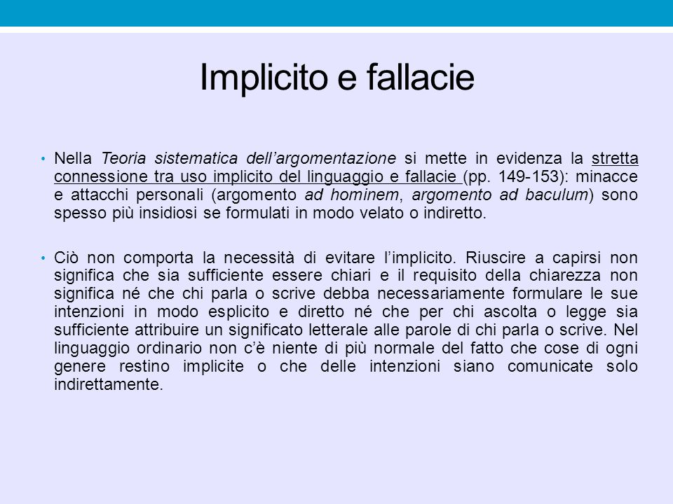 Implicito e fallacie